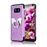 Funyye Bling Glitter Sparkle Rubber Case for Samsung Galaxy S8,Luxury 360 Degree Rotating Grip Butterfly Ring Stand Holder Anti-Scratch Ultra Thin Soft Silicone TPU Durable Case for Samsung Galaxy S8 + 1 x Free Screen Protector,Purple