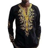 Kankanluck Mens Long Sleeve Tops V Neck Africa Printing Tribal Pullover T-Shirts Black 2XL