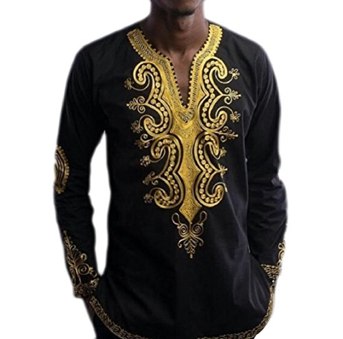 Kankanluck Mens Long Sleeve Tops V Neck Africa Printing Tribal Pullover T-Shirts Black 2XL by Kankanluck