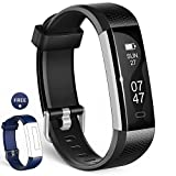 Image of Fitness Tracker, Wesoo K1 Fitness Watch : Activity Tracker Smart Band with Sleep Monitor, Smart Bracelet Pedometer Wristband with Replacement Band for iOS & Android (Black+Blue Band)