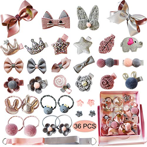 Baby Girl's Hair Clips Cute Hair Bows Baby Elastic Hair Ties Hair Accessories Ponytail Holder Hairpins Set For Baby Girls Teens Toddlers, Assorted styles, 36 pieces Pack(PH0053A) -