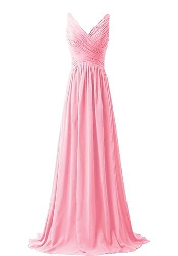 WeiYin Women's Chiffon V-neck Sleeveless Bridemaid Dresses