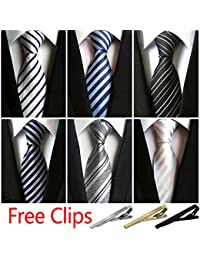 Ties for Men 6pcs Mens Ties and 3pcs Tie Clips Men's Classic Tie NeckTies