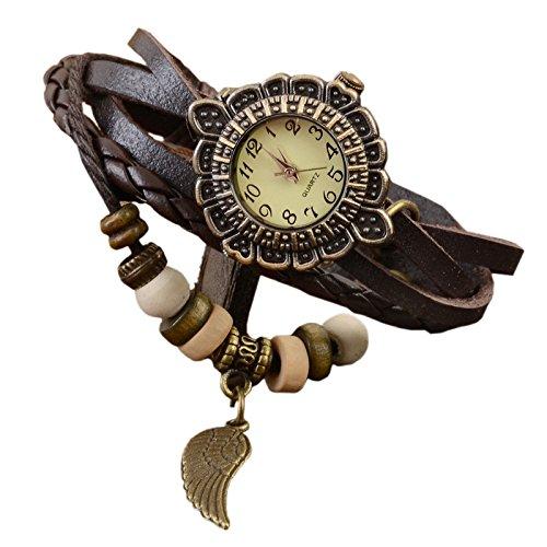 Reloj de pulsera de cuero - SODIAL(R)Diseno de resorte Reloj de pulsera de cuero Reloj de seora Marron: Amazon.es: Relojes