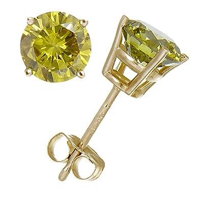 cf6af36d2 Amazon.com: 1 cttw Yellow Diamond Stud Earrings 14K Yellow Gold: Jewelry