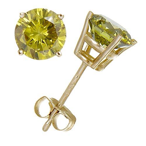 1 CT Yellow Diamond Stud Earrings 14k Yellow Gold (I1-I2 Clarity)