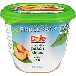 Dole Fridge Pack, Yellow Cling Sliced Peach Slices in Fruit Juice, 15 Ounce (Pack of 4)