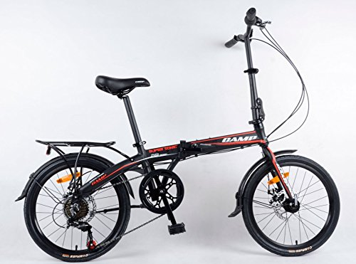 (Folding Bike Shimano 7 Speed 20 Inch Lightweight Aluminum Foldable Bicycle Disc Brake with Fender and Rack (Black))