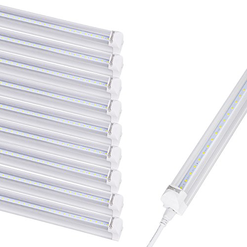 Fluorescent Linkable Fixture - Brillihood LED T8 Integrated Single Fixture, 4FT, 20W, 6500K (Bright White), 2200lm, Utility Linkable LED Shop Light, Ceiling and Under Cabinet Light, Cooler Door Lighting Fixture, Pack of 10