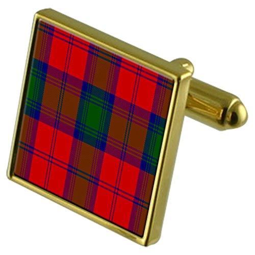 Boutons de manchette or Tartan Clan Lindsay en cas personnalisé gravé