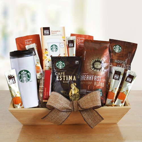Starbucks Fall Favorites Gourmet Coffee Gift Basket with Travel Mug