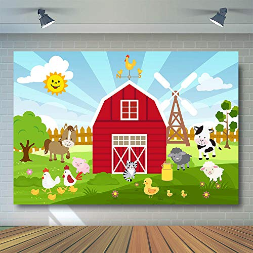 COMOPHOTO 7x5ft Vinyl Cartoon Farm Barnyard Animal Theme Backdrop Red Little Farmer Birthday Party Banner Cake Table Decorations Baby Shower Photography Background Red Warehouse Door Photo Props