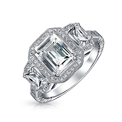 3CT Deco Style Rectangle Halo Past Present Future 3 Stone Emerald Cut CZ Engagement Ring CZ 925 Sterling Silver ()