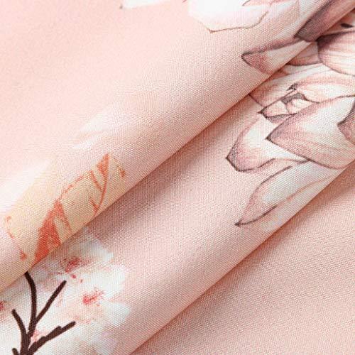 Myoumobi_ Women Fashion Floral Print Dress Loose O Neck Sleeveless Mini Dress Summer Casual Spaghetti Strap Sundress Pink by Myoumobi_Dress (Image #3)