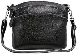 Heshe Womens Leather Handbags Shoulder Bag Small Bags Designer Handbag Crossbody Satchel And Purses For Ladies Black