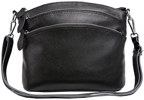 Heshe Womens Leather Handbags Shoulder Bag Small Bags Designer Handbag Crossbody Satchel and Purses for Ladies (Black)