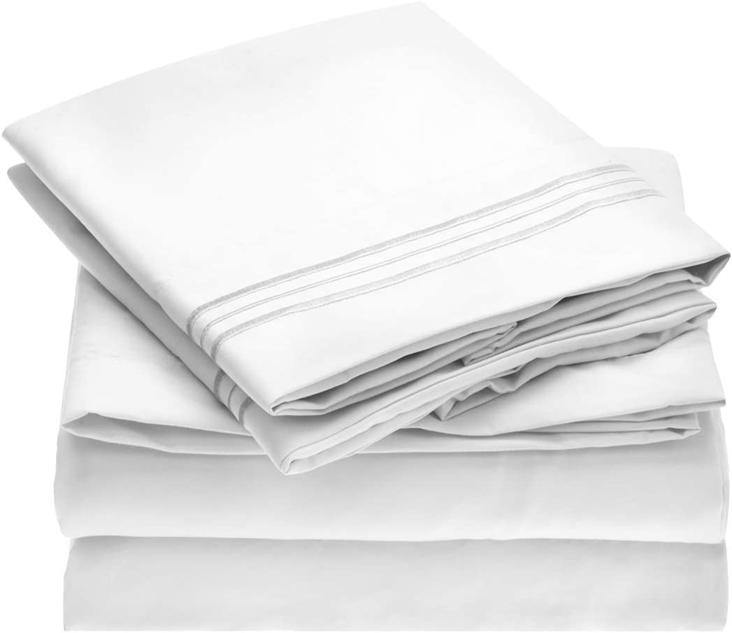 Mellanni Bed Sheet Set - Brushed Microfiber 1800 Bedding - Wrinkle, Fade, Stain Resistant - Hypoallergenic - 4 Piece (Queen, White): Home & Kitchen