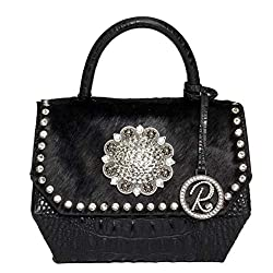 Crocodile & Black Hair On Leather Bag With Crystals