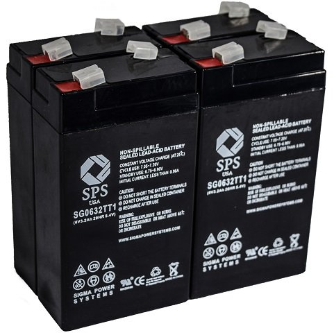 SPS Brand 12V 2.3 Ah Terminal T1 Replacement Battery for Alphasource 0380-0200-129 (4 Pack) ()