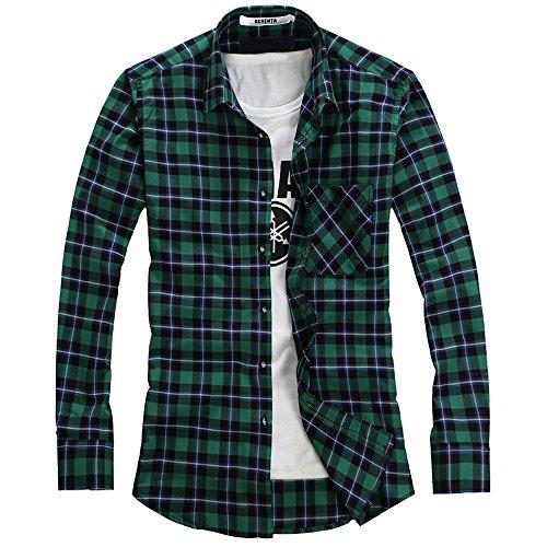 Chemise Casual Flanelle Shirt Plaid Ochenta Longues Manches Homme N102 UWvnxwq45w
