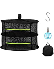 Herb Drying Rack, 2/4/6/8 Layer 2ft Hanging Rack Net Dryer for Hydroponic Plant and Herb Seeds, Include 1pc Garden Shearing, 1pc S Hang Buckle and 1pc Storage Bag