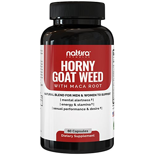 Natura Horny Goat Weed - Premium Natural Extract Complex w/ Maca Root Powder & Tribulus - Best Herbal Libido Booster Supplement For Men & Women | 1000mg Epimedium & 10mg Icariins per Serving.