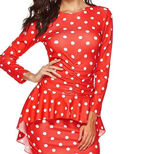 Women Dress Ladies Sexy Polka Dot Print Long Sleeve Knee-Length Mini Dress Fashion Cute Elegant Work Wear Skirt