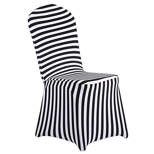 SHZONS Dining Room Chair Covers, trade; Stretch Stripe Ruffled Long Skirt Dining Chair Slipcover, Black/White(Style B)