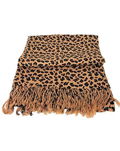 Paskmlna Animal Print Fringed Shoulder Pashmina Wrap Scarf - Leopard Zebra Patterns (Brown Leopard) ()