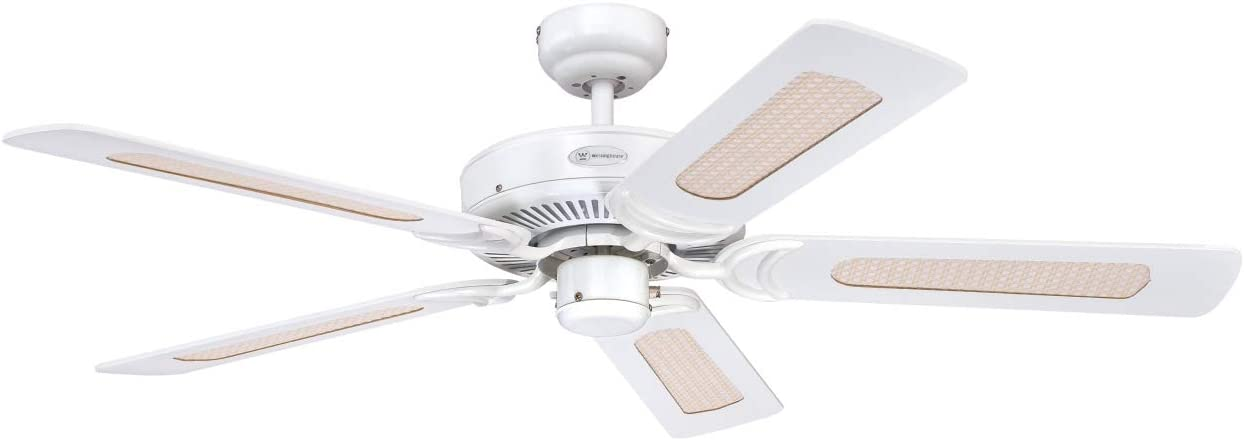 Westinghouse MONARCH Ceiling Fan, Metal, White finish White Finish