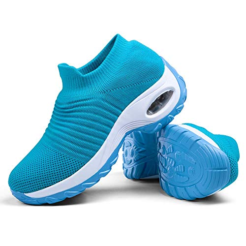Slip on Breathe Mesh Walking Shoes Women Fashion Sneakers Comfort Wedge Platform Loafers Light Blue,5
