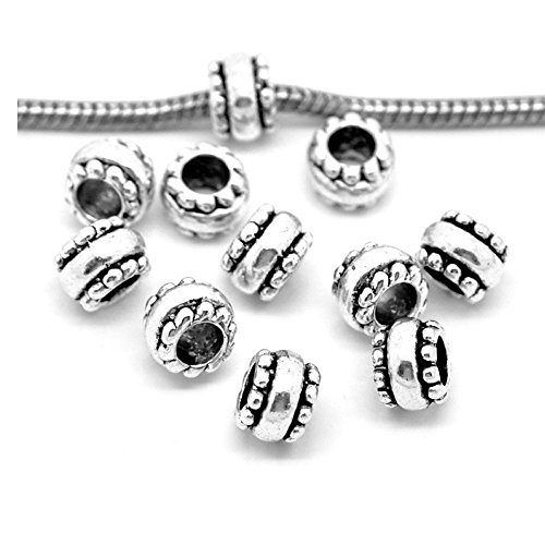 (SEXY SPARKLES 10 Pcs Silver Tone European Spacer Beads for Snake Chain Charm)