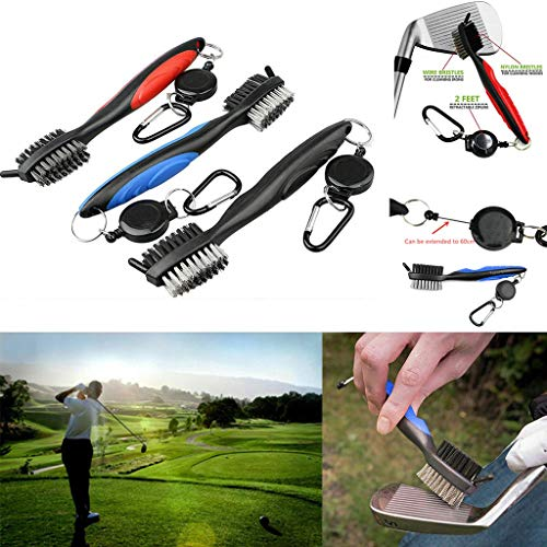 FGDJEE Golf Club Brush Groove Cleaner with Retractable Zip-Line Club Groove Cleaner Aluminum Carabiner Cleaning Tools with Retractable Reel Easily Attaches to Golf Bag (Red) (Best Golf Launch Monitor 2019)