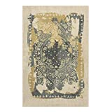 Rubber Backed 3'3'' x 4'7'' Canvas Medallion Yellow & Grey Non-Slip Contemporary Area Rug