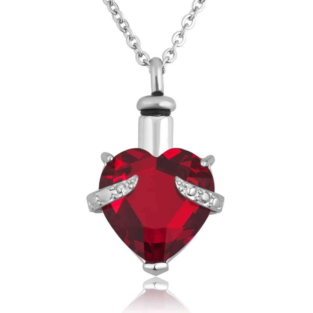 Heart Cremation Urn Necklace for Pet Human Ashes Urn Jewelry Memorial Pendant with Fill Kit and Gift Box (Purple) DbKMo6P