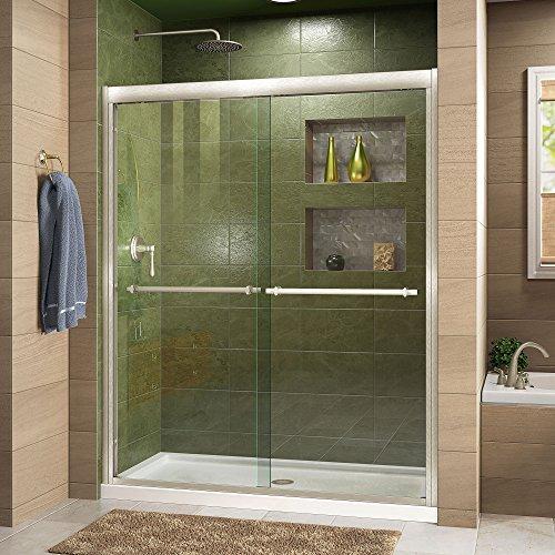 DreamLine Duet 56-60 in. W x 72 in. H Semi-Frameless Bypass Sliding Shower Door in Brushed Nickel, SHDR-1260728-04