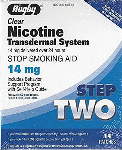 Rugby Clear Nicotine Transdermal System 14mg *Compare to Habitrol*, step 2, 14 Patches - 2 Step System
