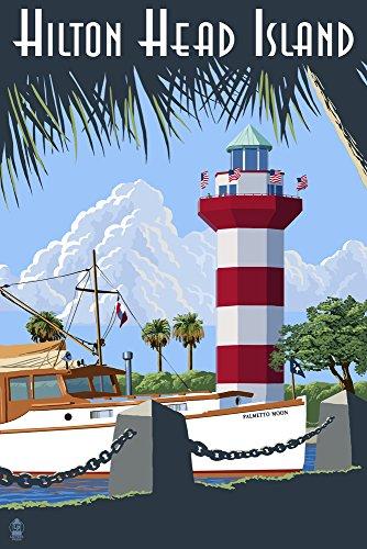 Hilton Head Island, South Carolina - Harbour Town Lighthouse (9x12 Art Print, Wall Decor Travel Poster)