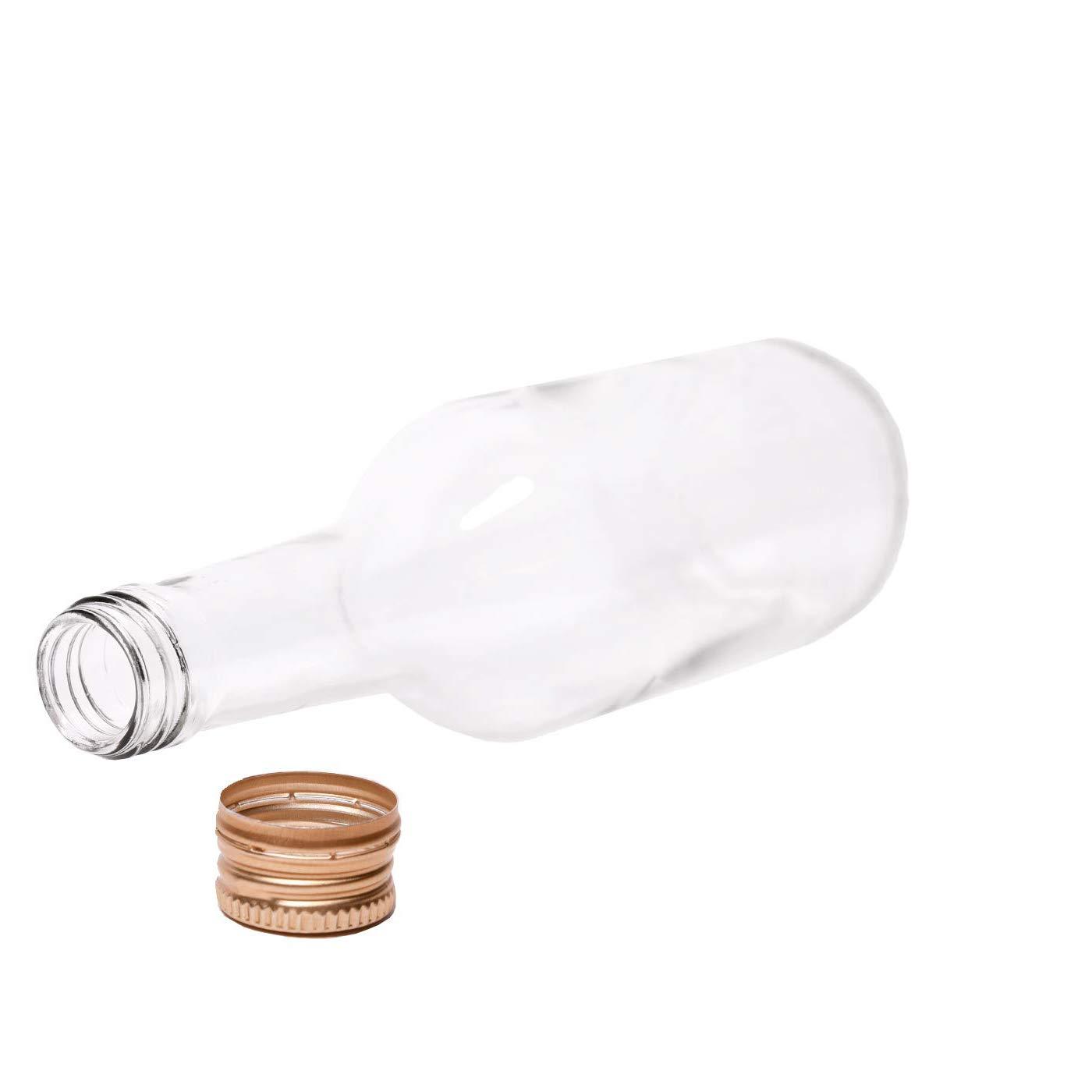 Set di 6 Bottiglie di Vetro da 200 ml con Tappo a Vite.