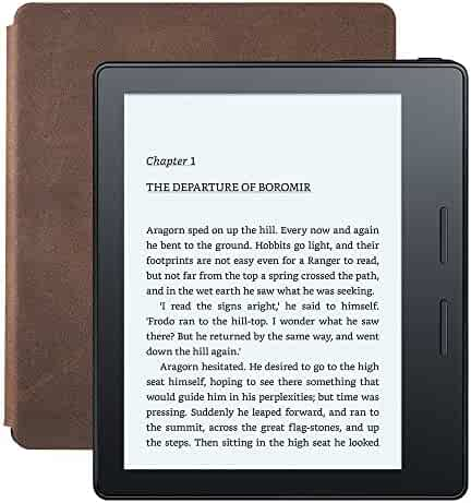 Kindle Oasis E-reader with Leather Charging Cover - Walnut, 6