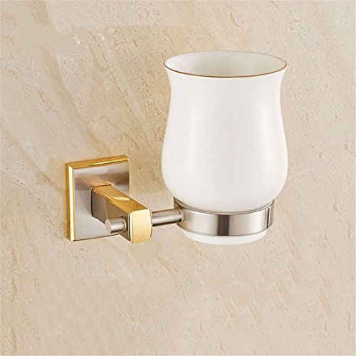 AiRobin-Continental Brass Brushed Wall Mounted Toothbrush Cup Holder Bathroom Accessory