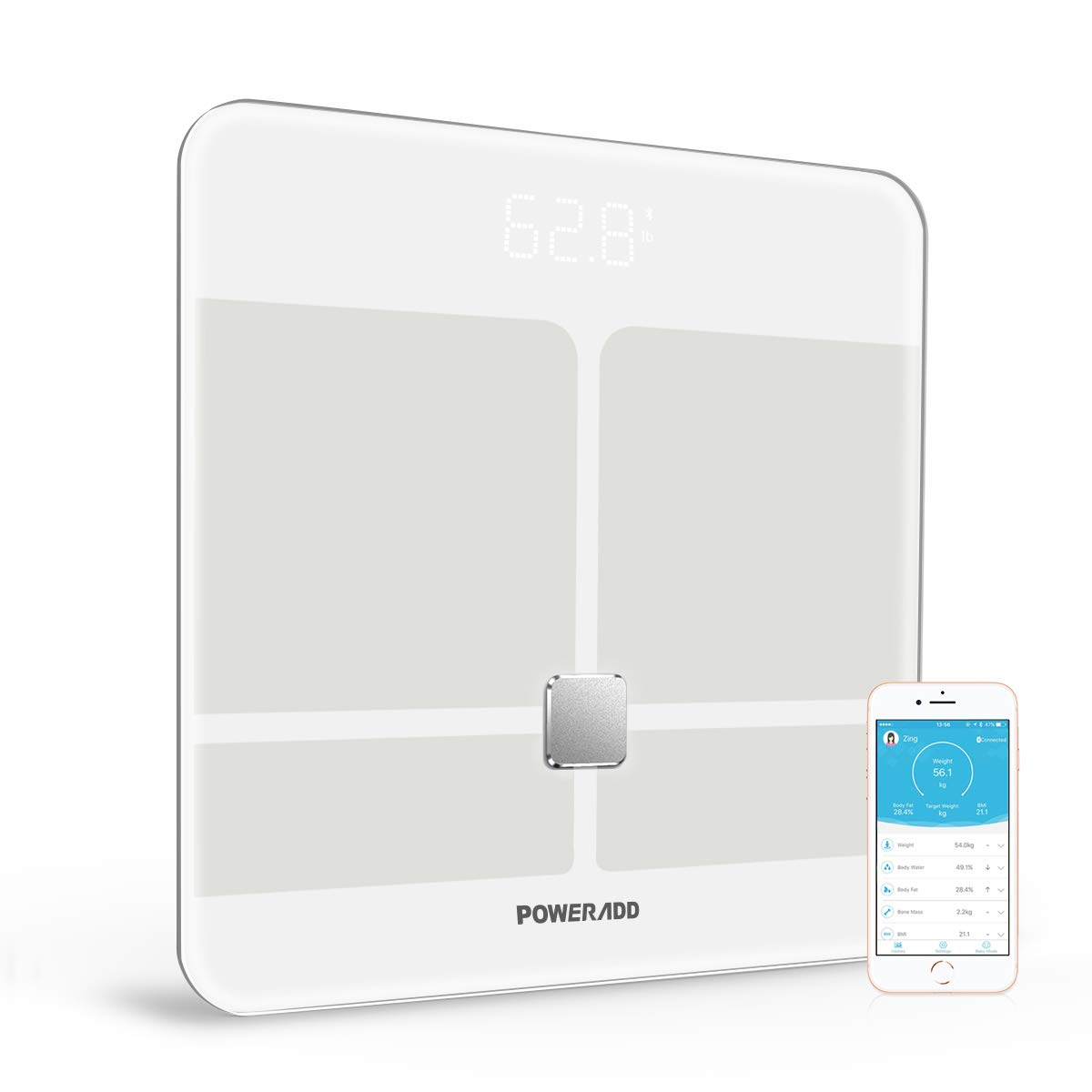 Bluetooth Body Fat Scale,Poweradd Smart BMI Scale Digital Bathroom Wireless Weight Scale,Body Composition Analyzer with Smartphone App,396lb,FDA Approved