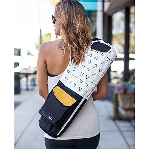 Eco Friendly Yoga Mat Bag / Organic Yoga Bag / Black Yoga Mat Carrier Tote: Full Zip, Adjustable Carry, GOTS 100% Cotton Canvas, Fair Trade Certified Environmental, with Pockets; for Men & Women