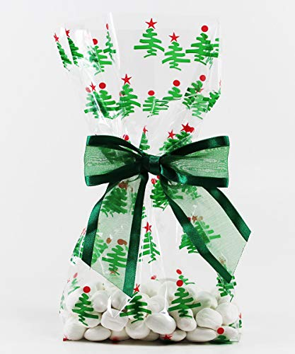 Saybrook Products Christmas Trees Cellophane Treat Party Favor Bags with Twist-Tie Organza Bow. Set of 10 Ready-to-Use, Gussetted 11x5x3 Goodie Bags with Bows. Green, Red, Clear ()