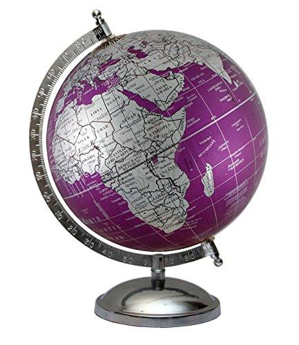 Rotating Earth Desktop Decorative Educational Globe Antique Gift Metallic Purple World Map Home Decor 8 Inches Diameter