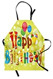 Ambesonne Birthday Apron, Happy Birthday in Cute Shapes Funny Figures with Ice Cream Candies and Balloons, Unisex Kitchen Bib Apron with Adjustable Neck for Cooking Baking Gardening, Multicolor