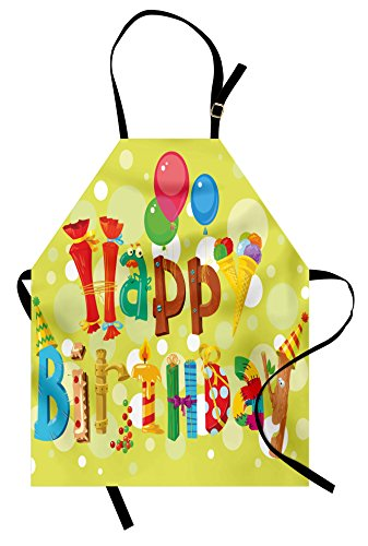 Ambesonne Birthday Apron, Happy Birthday in Cute Shapes Funny Figures with Ice Cream Candies and Balloons, Unisex Kitchen Bib Apron with Adjustable Neck for Cooking Baking Gardening, Green Yellow