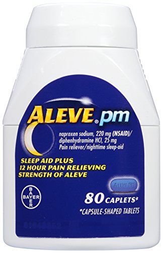 Aleve PM Caplets with Naproxen Sodium, 220mg (NSAID) Pain Reliever/Fever Reducer/Sleep Aid, 80 Count - Naproxen Pain Reliever