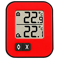 La Crosse Technology 30.1043.5 Digital Indoor and Outdoor Thermometer, Small, Red