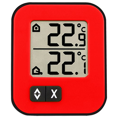 TFA 30.1043.05 Moxx Digital Indoor/ Outdoor Thermometer - Red/ Black